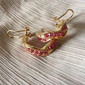 Jewelry - Diamond Pink and Gold Hoop Earrings